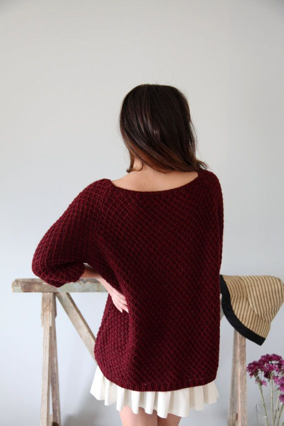 Burgundy Boho minimal knitted pullover3/4 by AnnaOhSailors on Etsy
