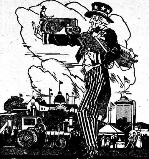 Newspaper cartoon advertising the Food Training Camp at the Minnesota State Fair. Image is from the St. Paul Appeal, August 4, 1917. Minnesota Historical Society Photograph Collection.