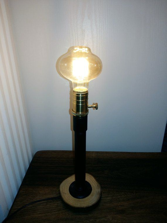 Pin On Wood Slice Vintage Rustic Design Pipe Table Lamp