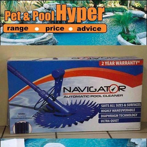 Great specials from Pet & Pool Hyper Boksburg: Navigator Automatic pool cleaner only for R549 includes hoses! Don't miss out on these great savings. Speak to the professional pool team at Pet Pool Hyper for more information. #poolcleaner #specials  Specials valid from 12 - 18 December 2013