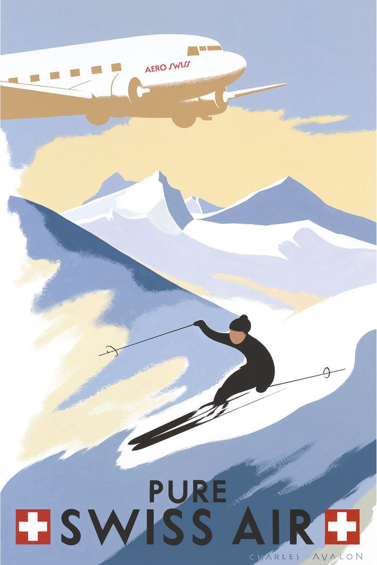 PEL113: 'Switzerland: Pure Swiss Air' - by Charles Avalon - Vintage travel posters - Winter Sports posters - Art Deco - Pullman Editions