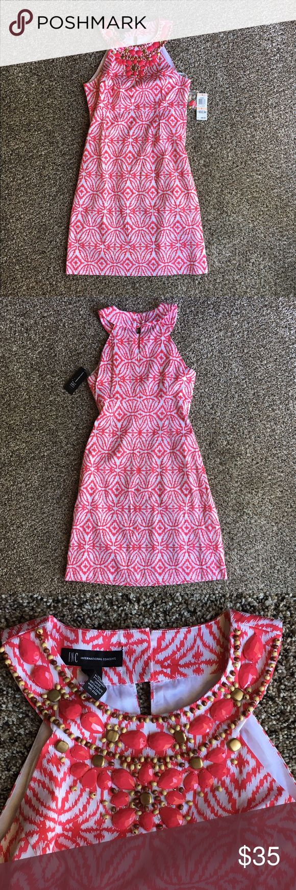 NWT - INC dress Vibrant pink and white dress with jeweled detail. Double button in the neckline and zipper in back. Never worn, tags attached. Perfect dress for Spring BBQs, baby showers, or even Easter. INC International Concepts Dresses