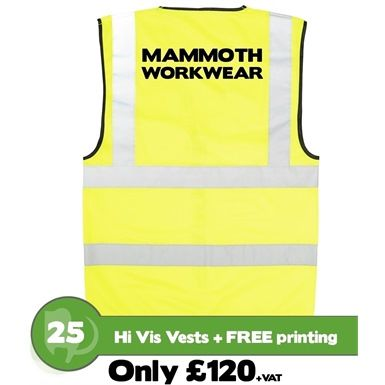 One of our most popular offers: 25 Back Printed Personalised Hi Vis Vests, custom printed and heat sealed with one colour, plus two lines of your chosen text. Heat sealed transfers are very durable, hard-wearing and washable up to 50 deg C. A great way to get your company noticed and identified in the work place. Safety garment conforms to EN471.