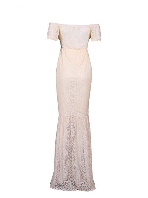 b6e4a5213963 DYMADE Women's Off Shoulder V Neck Short Sleeve Lace Maternity Gown Maxi  Photography Dress#Neck