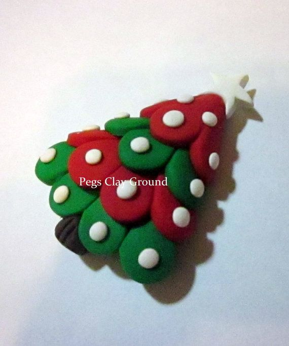Polymer Clay Pendant Hair Bow Center Christmas by PegsClayGround, $4.00