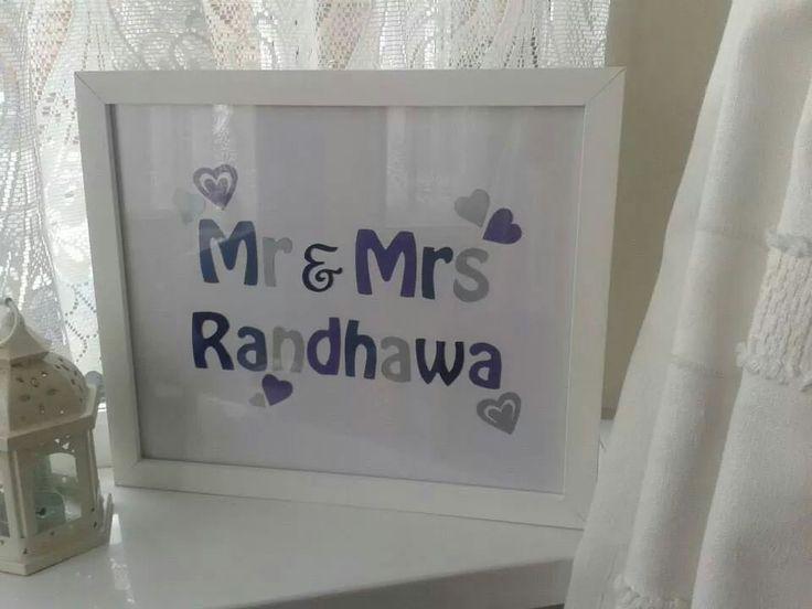 Mr and Mrs custom frame