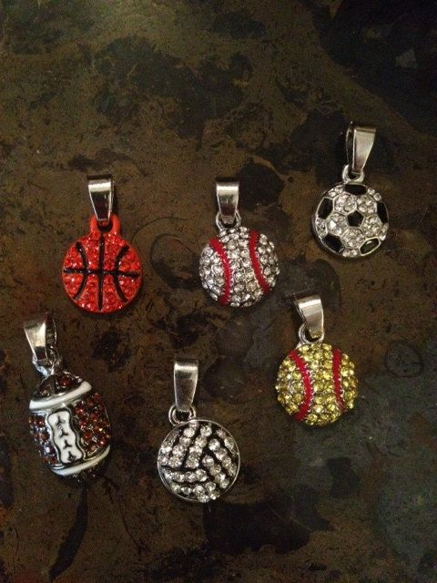 Rhinestone Sports Charm for Necklace   Baseball   Softball   Volleyball   Basketball Soccer Football