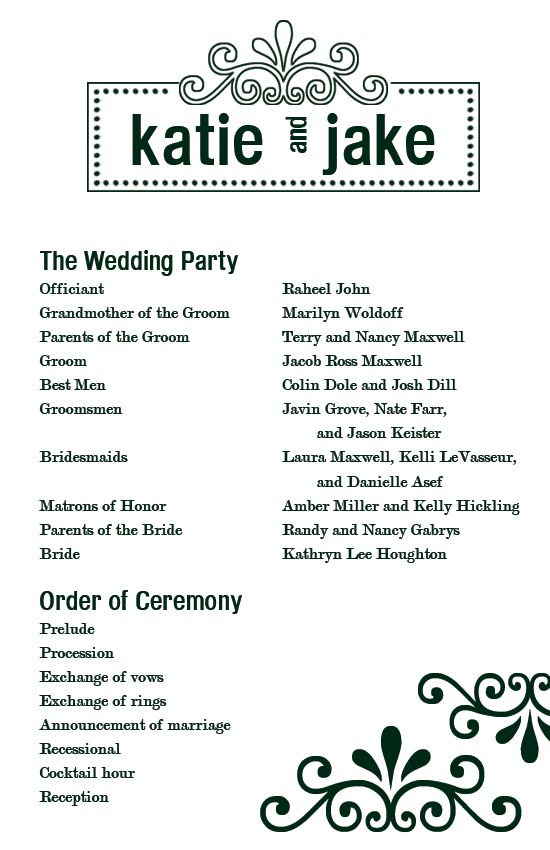 free printable wedding programs Custom Printables Katie\u0027s Wedding