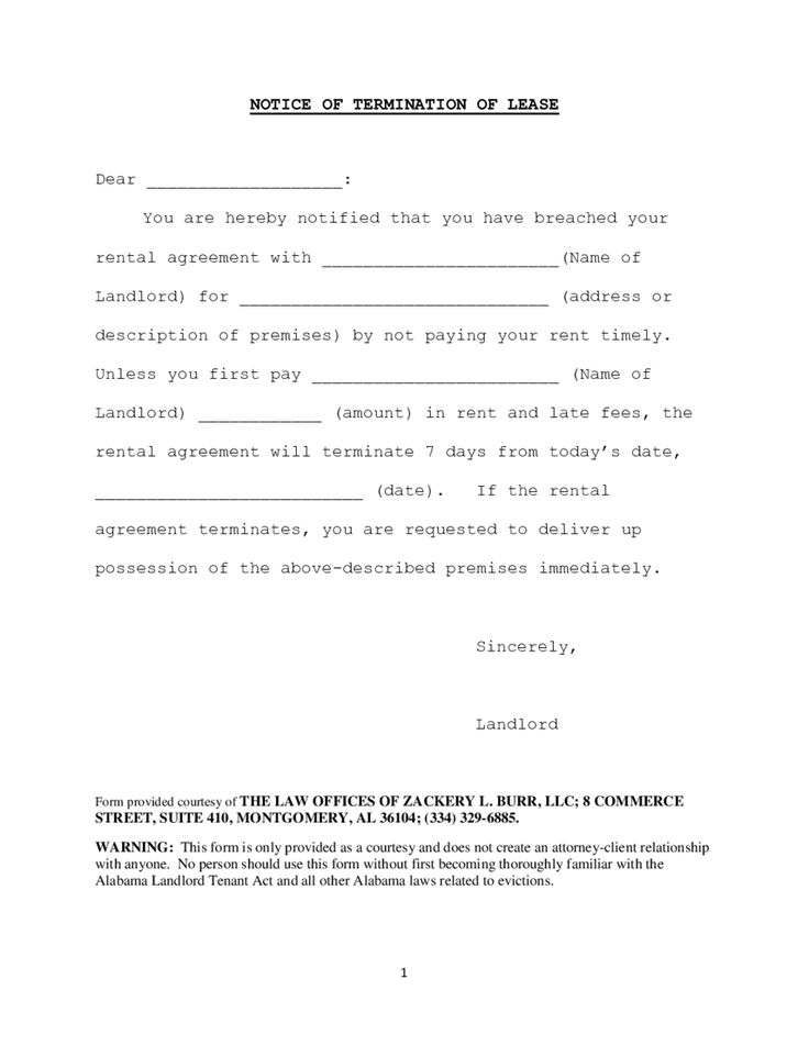 Lease Termination Letter Sample Template Notice Terminate Tenancy