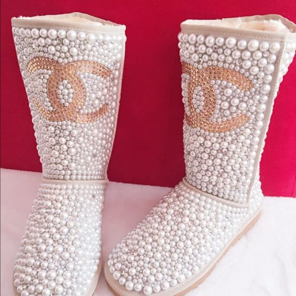 Pearl and gem cowhide personalized winter boots! Lightly worn! I got tons of compliments on these! They sparkle and shine! Gorgeous! They have the Chanel logo on them in a champagne colored rhinestones on the front and back! Shoes Winter & Rain Boots