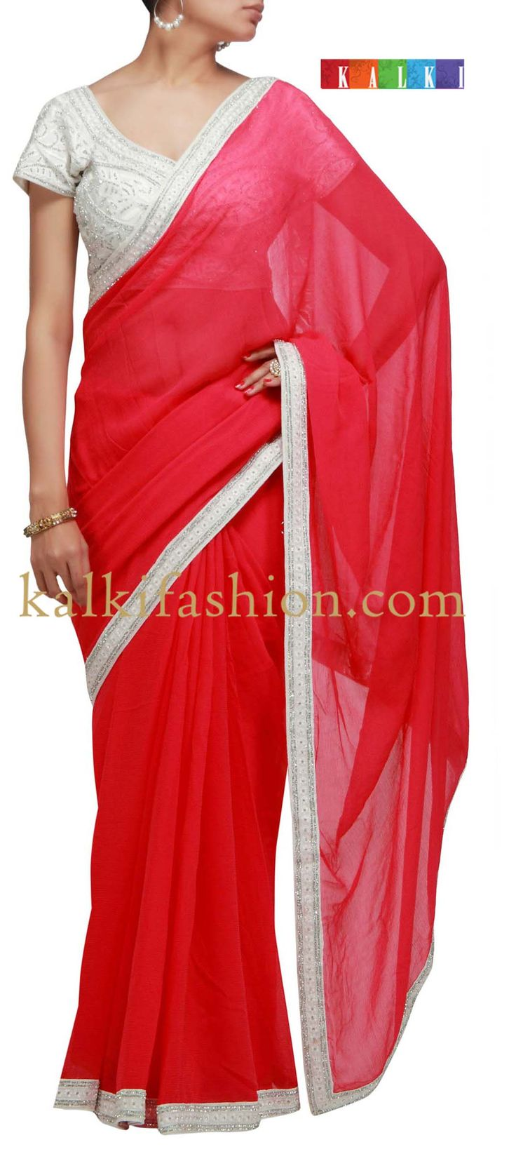 Buy it now  http://www.kalkifashion.com/peach-saree-with-embroidered-border.html  Peach saree with embroidered border