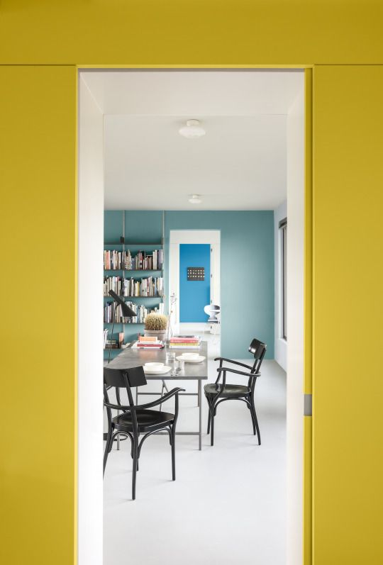 Using colour to draw the eye through spaces will help your home feel inviting and intriguing from one room to the next. Frame entrance ways with eye-catching shades such as Honey Mustard, Marine Splash, and Summer Medley 1 to give your room a view.