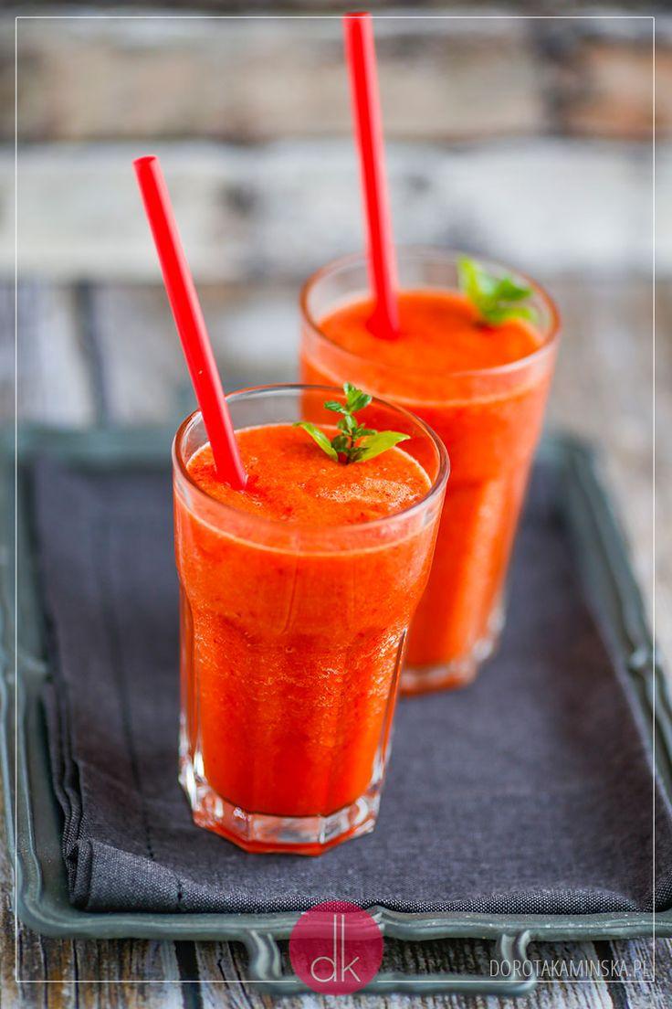 Koktajl z papryki - #przepis na koktajl paprykowy o pięknym kolorze i świetnym smaku. #fit #smoothie #papryka