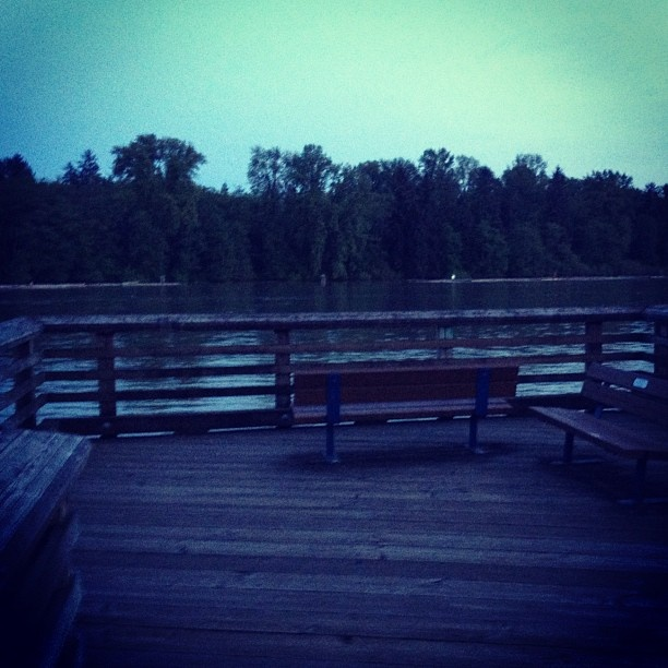 Brandon's running route - the boardwalk along the river in Port Coquitlam.