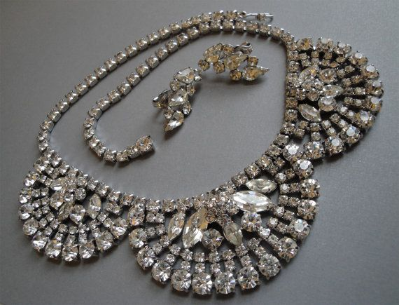 Vintage Rhinestone Necklace Set with Clear and Silver Wedding Bridal Jewelry by AlexiBlackwellBridal,  $125.00