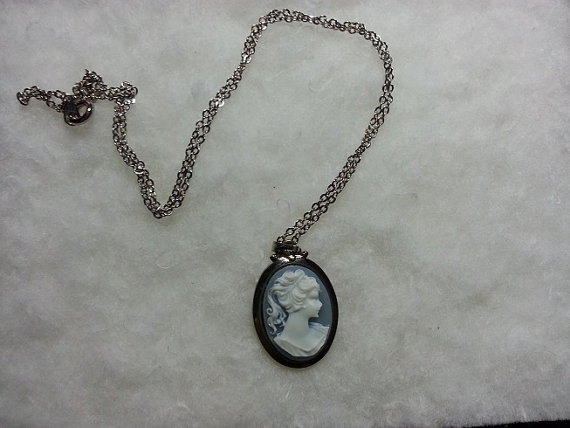 3/4 Inch Cameo Pendant 18 Inch Chain Necklace by WithLoveDivine, $20.00 fashion jewellery jewelry silver pale blue trend  stunning victorian traditional classic elegant https://www.etsy.com/listing/152648094/34-inch-cameo-pendant-18-inch-chain