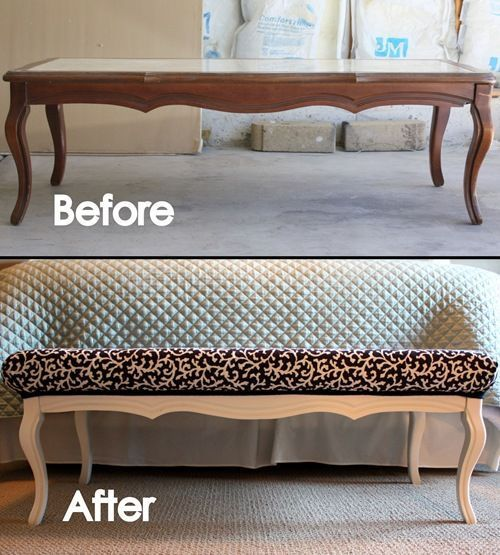 Take an old coffee table, some paint, foam padding, and fabric to create a bench seat for the foot of your bed.: