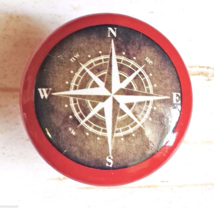 4 Handmade Compass Birch Wood Knob Drawer Pulls, Tuscan Red Painted Knobs