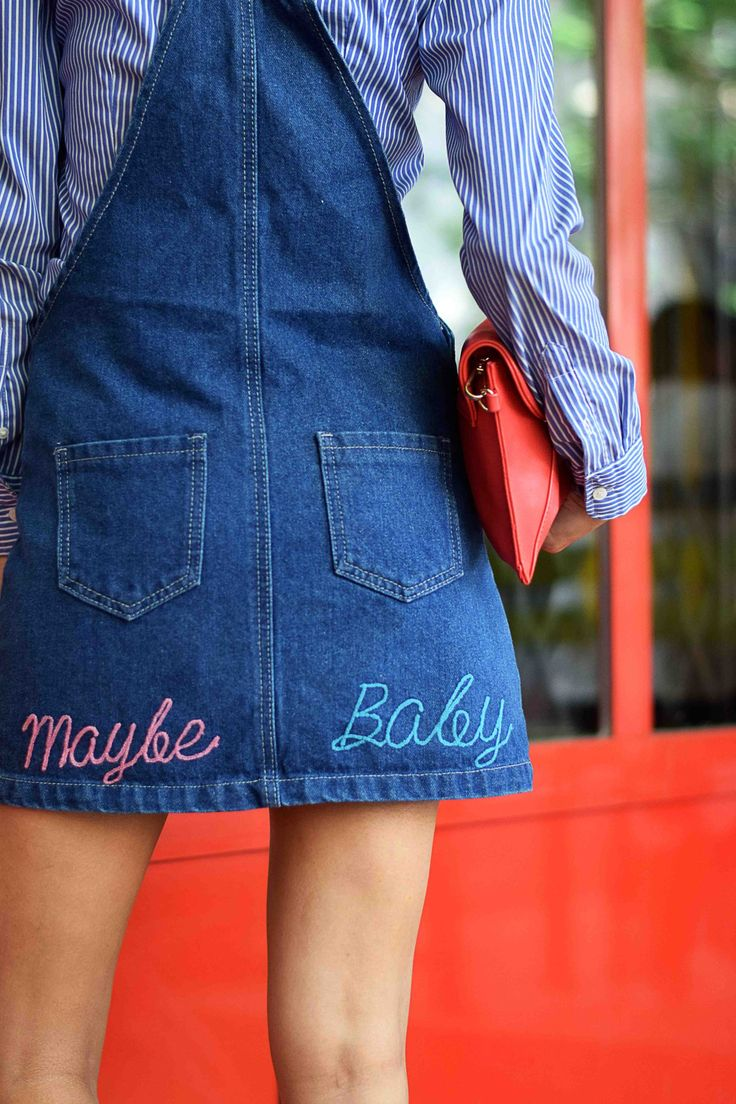h&m ladies blue stripe fitted shirt  // liquor & poker pinafore dress with back slogan // red envelope clutch // nike cortez 72 white gum womens classic vintage trainers sneaker