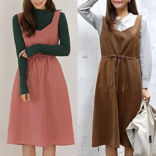 Buy MayFair Drawstring Waist Midi Pinafore Dress at YesStyle.com! Quality products at remarkable prices. FREE WORLDWIDE SHIPPING on orders over US$ 35.