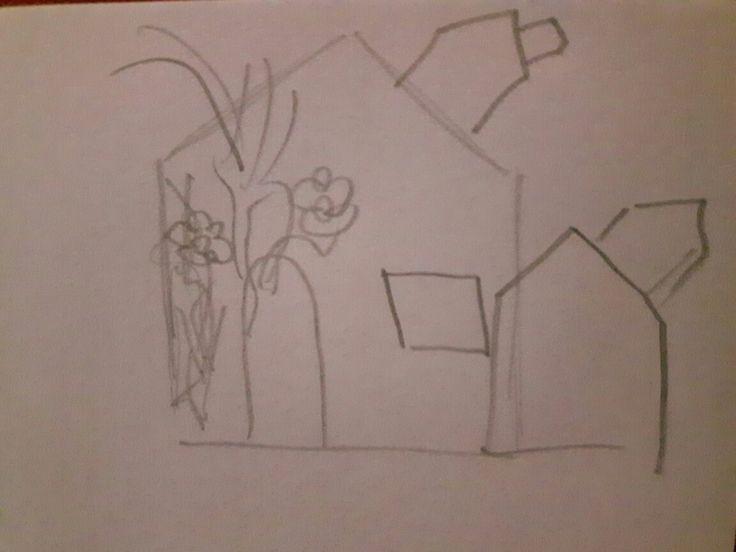 Schets 1. Ik heb als onderwerp 'te veel bebouwing' gekozen, omdat er overal alleen maar gebouwd wordt en er veel groen wordt gekapt. Ik ga een huis maken met aan de ene kant allemaal planten en aan de andere kant staan er allemaal huisjes voor en op het huis. De groene kant staat voor hoe het eerst een beetje was en de andere kant staat voor alle dichtgebouwde plekken. Alle huisjes wil ik 3d maken.