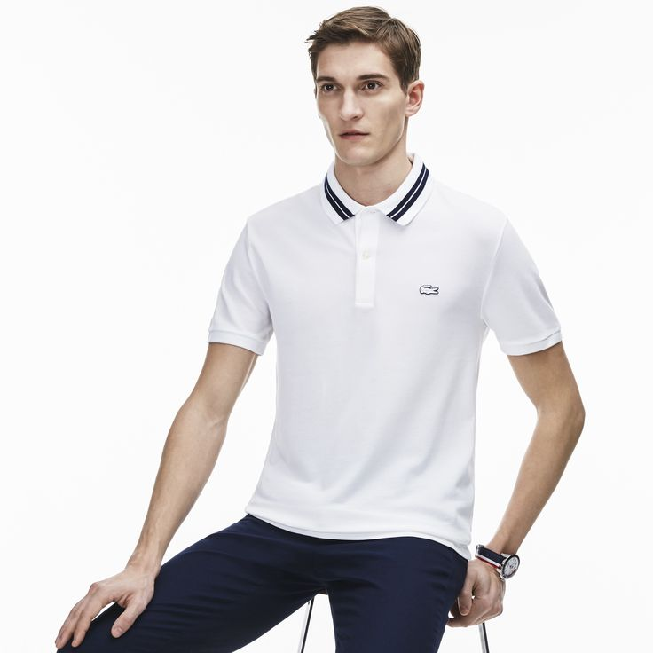 LACOSTE Men's Slim Fit Polo - white/navy blue. #lacoste #cloth #