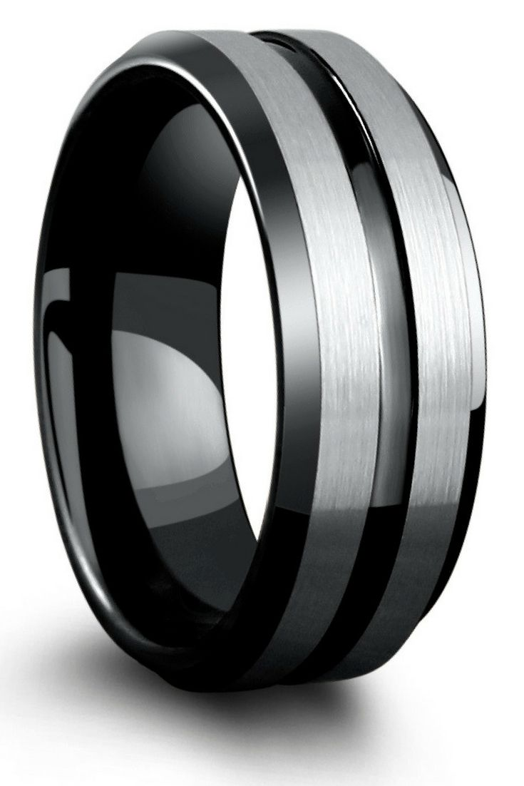 Black and silver tungsten wedding ring. This modern mens wedding ring is designed with a silver brushed finished and an high polish black channel. This makes such a unique mens wedding ring.