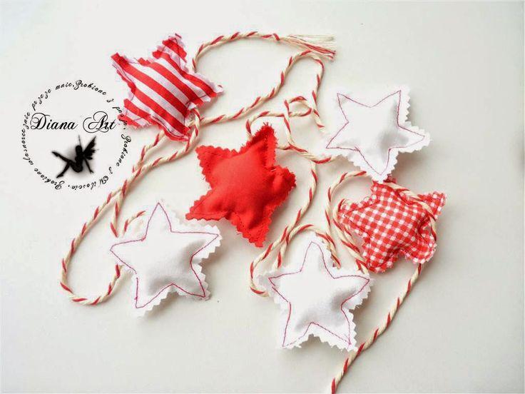 christmas, red, garland, stars