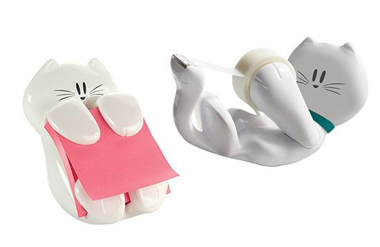 Dress up your desk with these cute white kitty desk accessories! Post-it note dispenser and matching Scotch tape dispenser. I want both of them!