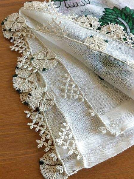 東アナトリア・エラズー県アンティークオヤスカーフ★シルクイーネオヤ:ホワイト - Oriental Shop C*bow