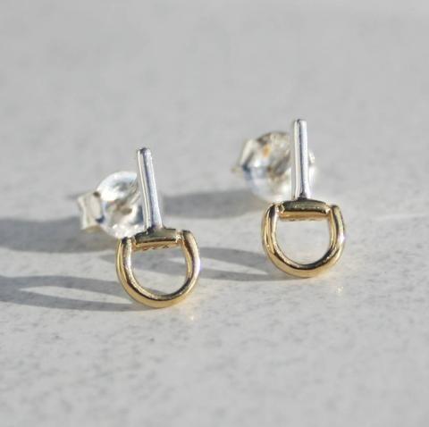 Mini Snaffle Silver & Gold Stud Earrings