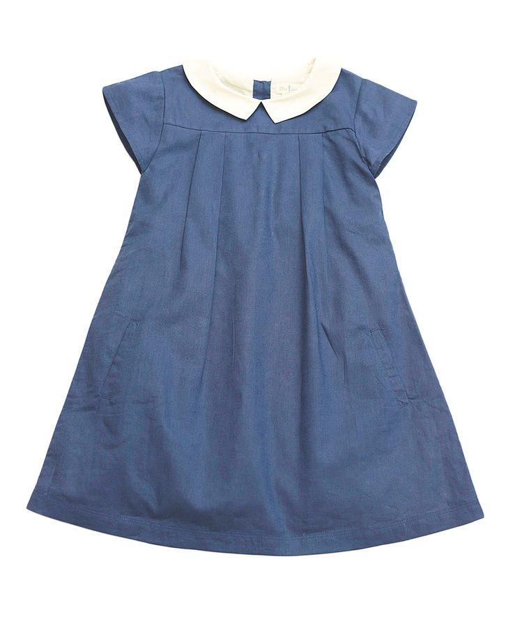 Love this Indigo Linen-Blend School Girl Dress - Kids & Tween by Olive Juice on #zulily! #zulilyfinds