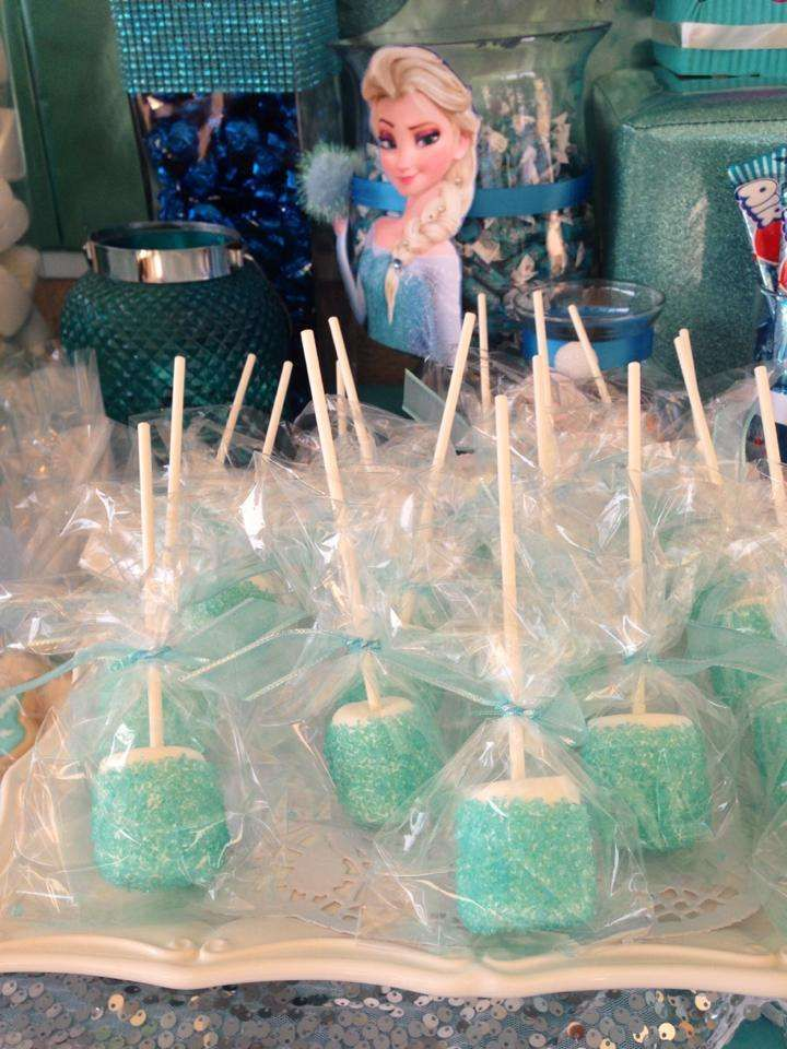 Frozen | CatchMyParty.com, frozen marshmallow pops: marshmallows, white chocolate, sprinkles