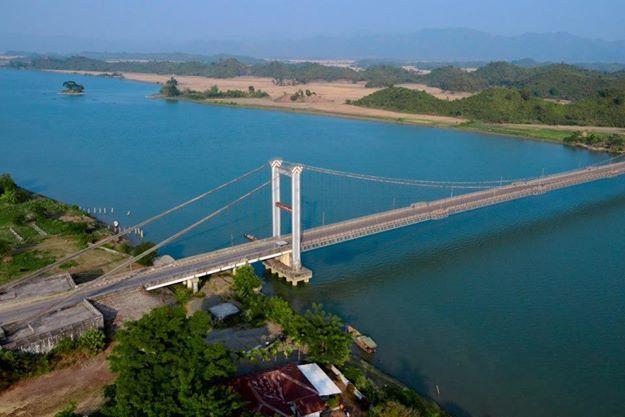 Suspension Bridge in Minbya, Rakhine State, Myanmar, taken from an MI-17 helicopter using Nikon D7000
