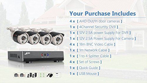 cool ANRAN 4CH Security System 1080N AHD HDMI DVR 720P 1800TVL Weatherproof IR Outdoor CCTV Camera Home Video Surveillance Kits