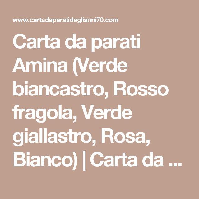 Carta da parati Amina (Verde biancastro, Rosso fragola, Verde giallastro, Rosa, Bianco) | Carta da parati degli anni 70