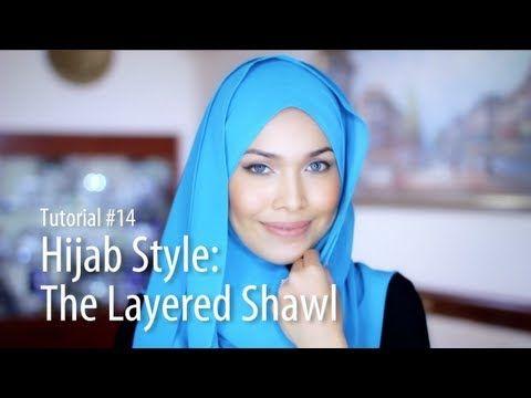 [Adlina Anis] Hijab Tutorial 14   The Layered Shawl - YouTube
