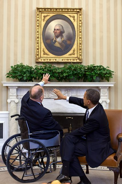 President Barack Obama meets with Max Cleland, former Senator and current Secretary of the American Battle Monuments Commission, in the Oval Office, Feb. 21, 2012. (Official White House Photo by Pete Souza)
