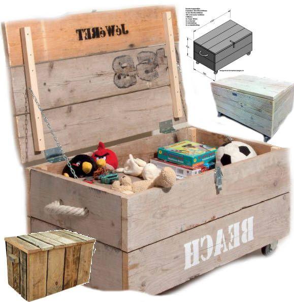 Maak een degelijke kist van steigerhout. - Steigerhout bouwtekeningen Bouwtekeningen: Kist ✩ Steigerhout