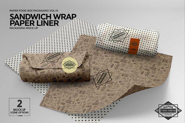 Wrap Or Burrito Paper Liner Mockup Free Packaging Mockup Paper Liner Food Box Packaging