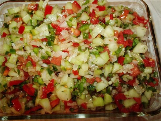 Cucumber Salsa from Food.com:   								This is fresh and crunchy. Almost all the ingredients come straight from the garden. A great use for those surplus cucumbers and tomatoes-you can only make so many pickles, right?! Cook time is chill time.