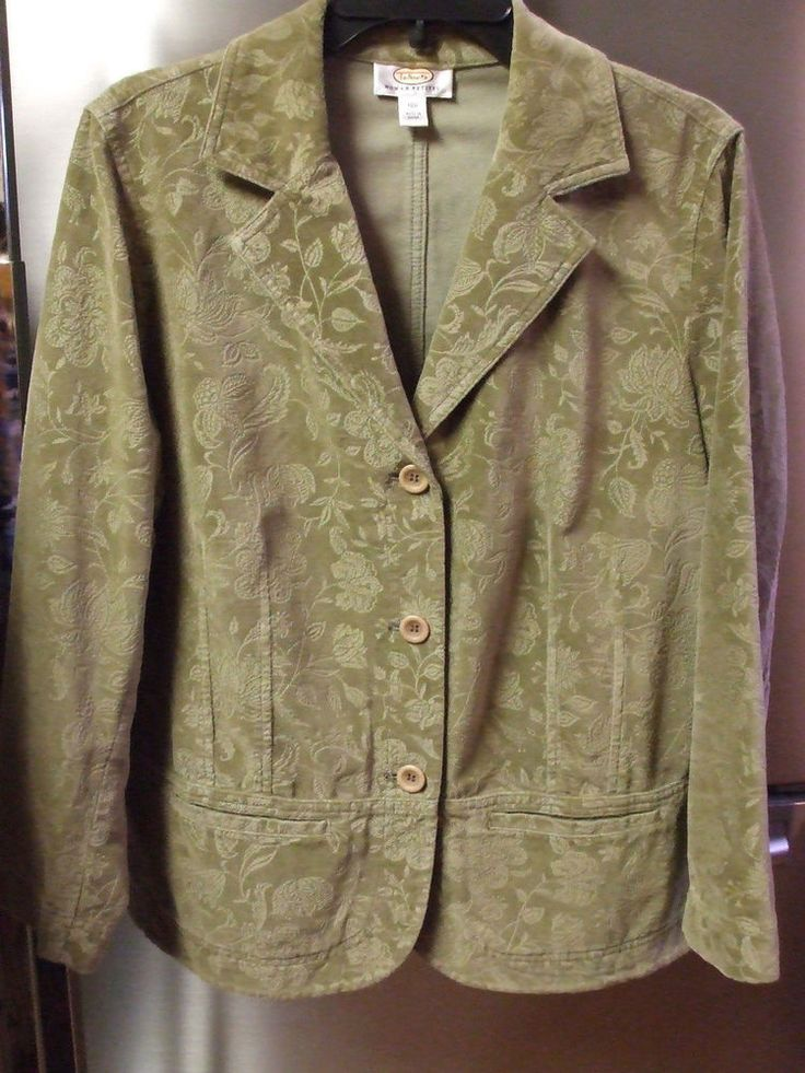 Talbots Woman Petites 14W Olive Green Patterned Jacket XL EUC SALE $15.00