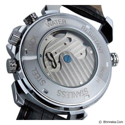 ESS Luxury Men Leather Strap Automatic Mechanical Watch [WM181] - Black/Silver - Jam Tangan Pria Casual