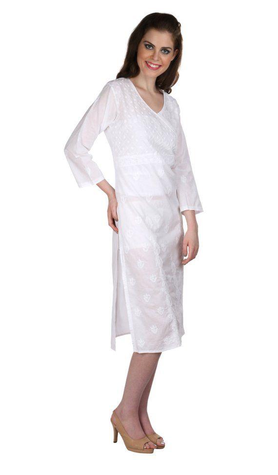 6acb45e0b86 Ladies Tops Tunic Kurti Blouse Indian Chikankari Hand Embroidery handmade women's  dresses boho clothes for summer wear Multiple sizes