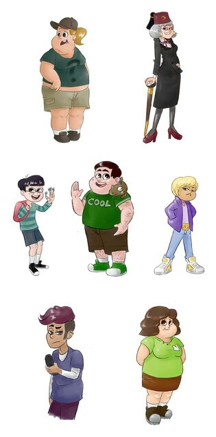 soos, grunkle stan, candy, grenda, Thomson, and Wendy's friends in opposing gender