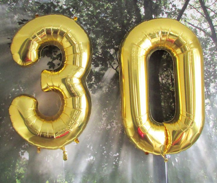 30th Birthday Giant Balloons, Gold Balloons, Huge Number Balloons, Dirty 30, 30th Birthday Party Decoration, 30th Anniversary, Thirtieth by brightsoslight on Etsy https://www.etsy.com/listing/207023424/30th-birthday-giant-balloons-gold
