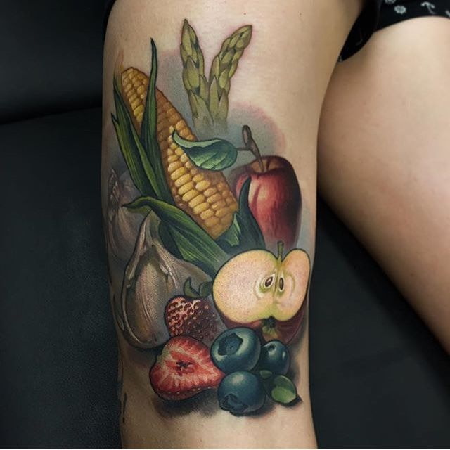 Fruits and veggies by @timmy_b_413 #inkedmag #inked #ink #art #freshlyinked #tattoo #tattoos