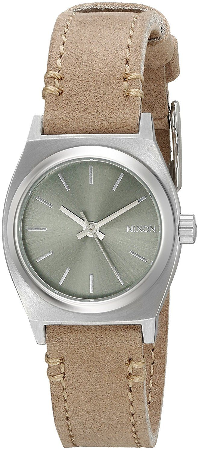 Nixon Women's A509-2217 Small Time Teller Stainless Steel Watch with Leather Band >>> Learn more by visiting the image link.