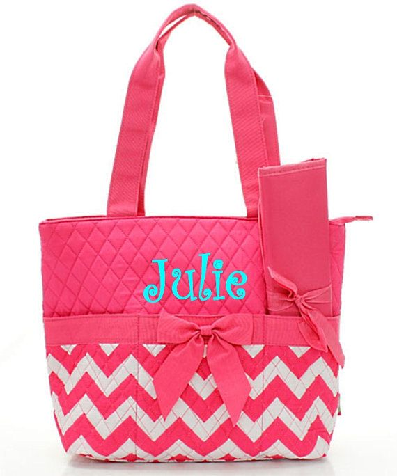 Monogram Diaper Bag/Personalized pink and white chevron Diaper bag by sewsassybootique on Etsy