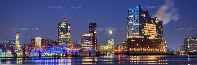 Elbphilharmonie Panorama Bei Nacht Mit Vollmond Hamburg Hafen City Bilder